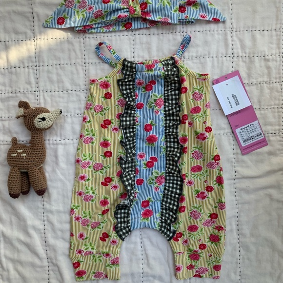 Mustard Pie Other - Vintage floral romper with matching bow headband